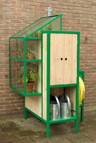 Dulap pentru exterior cu sistem de colectare a apei de ploaie si cu sera