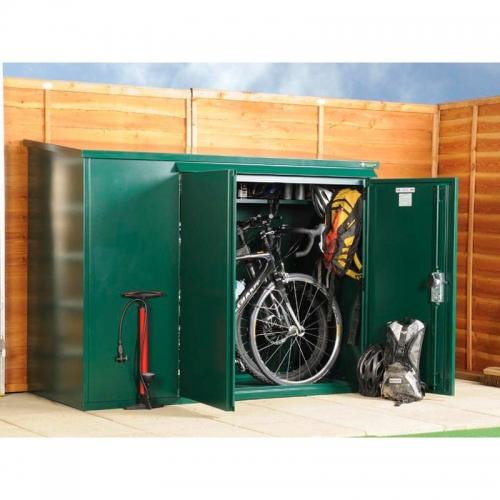 Idee pentru depozitarea bicicletelor in curte - dulap din metal
