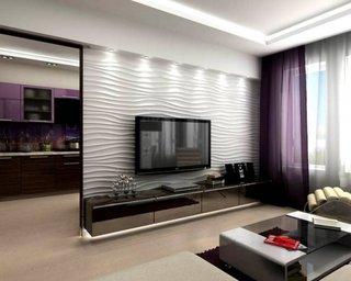 Televizor suspendat si spoturi de lumini pentru accentuare