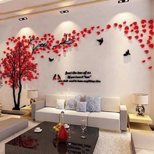 Copac cu frunze rosii si pasari sticker perete 3D