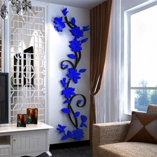 Decoratiune perete din spuma flori albastre