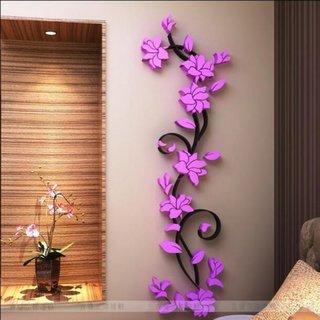Flori decor perete culoare mov