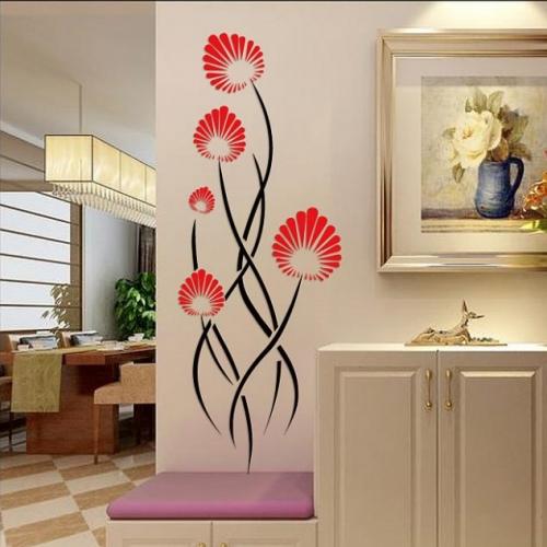 Sticker flori rosii cu negru pentru perete hol