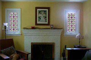 Ferestre cu geamuri din sticla pictata manual