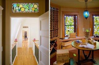 Interior de locuinta decorat cu geamuri din sticla pictata in cercuri colorate