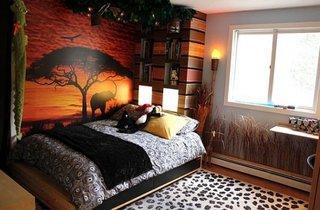 Dormitor cu tapet cu elefanti