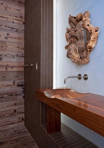 Lavoar baie din lemn dintr-o singura bucata