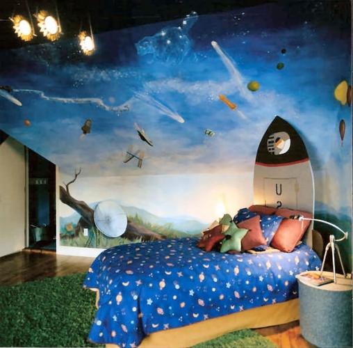 Camera copii la mansarda cu tavanul si peretii pictati