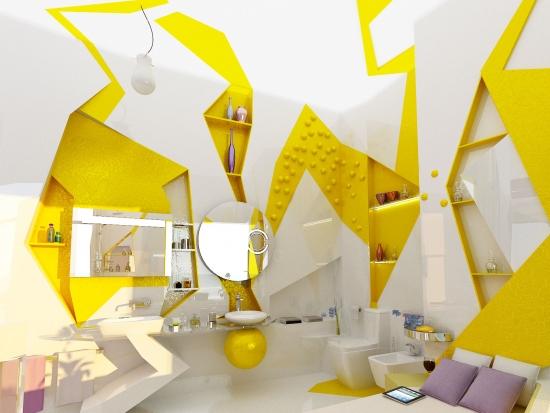 Design futurist in baie combinatie alb cu galben