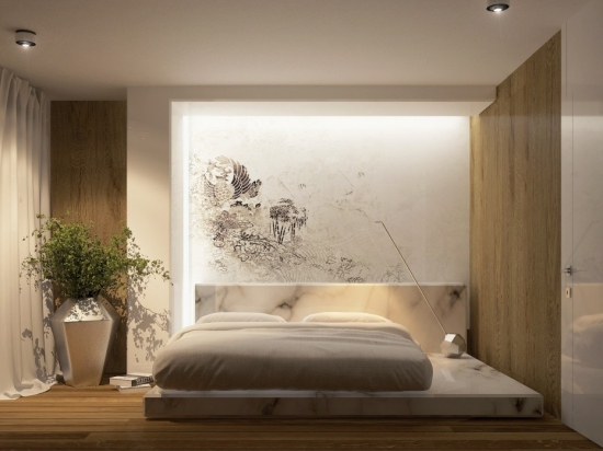 Dormitor cu pat cu cadru si tablie din marmura