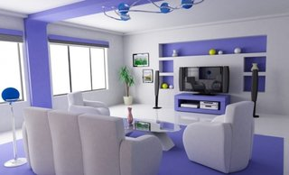 Living lila cu alb decor modern futurist