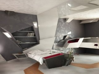 Mobilier si structuri pereti cu forme futuriste