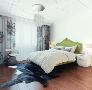 Dormitor zugravit in alb cu pat verde lime in stil pop art