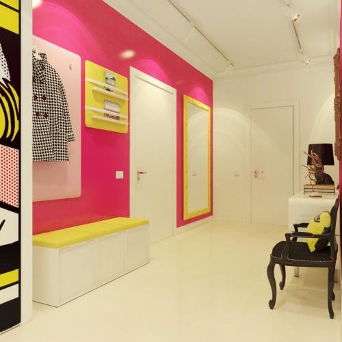 Hol de intrare cu pereti galbeni si roz pop art