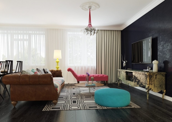 Living cu perete de accent albastru inchis si comoda TV cu model stil colaj