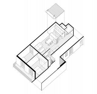 Plan 3 D apartament semidecomandat