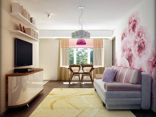 Idee amenajare living ingust cu roz