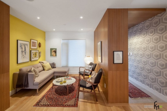 Living separat de hol prin perete placat cu lemn