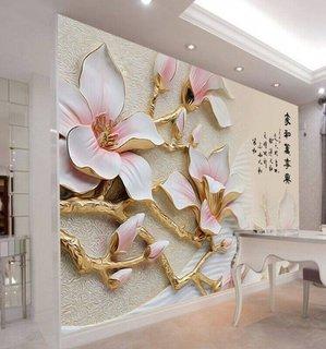 Tapet 3D flori alb cu roz
