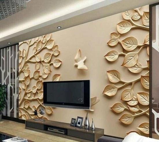 Tapet 3D frunze auriu