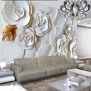 Tapet tridimensional flori mari albe