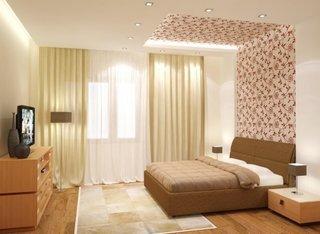 Dormitor simplu cu tapet pe tavan partial