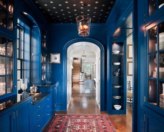 Hol cu dulapuri din lemn albastru si tavan cu tapet negru cu stelute argintii