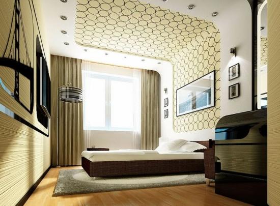 Idee de folosire a tapetului pe tavanul dormitorului