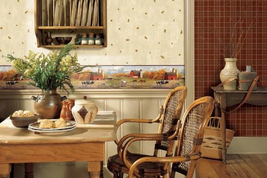 Tapet in stil rustic pentru bucatarie