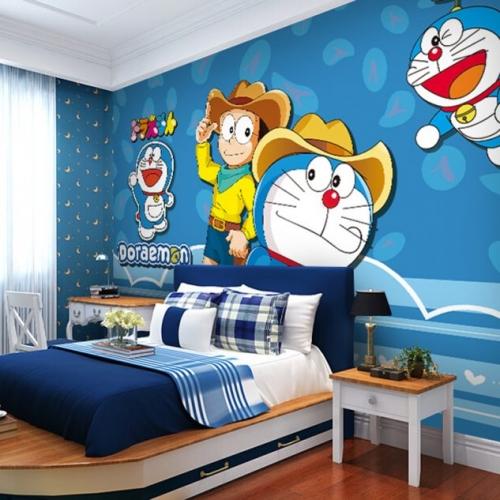Dormitor cu tapet cu persoanje din desene animate