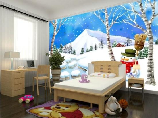 Tapet cu peisaj de iarna camera copii