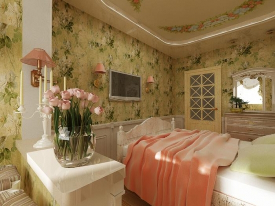Dormitor amenajat in stil shabby chic cu tapet floral