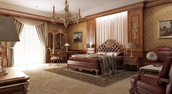 Dormitor clasic traditional cu tapet din matase pe pereti