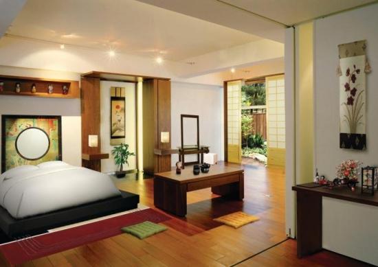 Dormitor decorat in stil modern japonez
