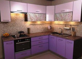 Mobilier violet bucatarie moderna