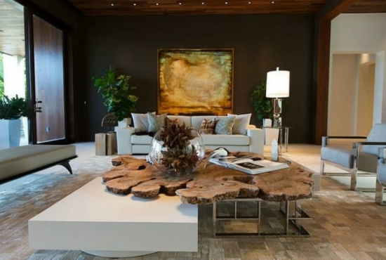 Pereti negri si mobilier alb decor modern pentru living