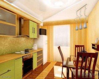Bucatarie mica de apartament in nuante de verde