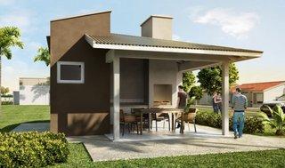 Proiect terasa moderna acoperita in nuante de maro si bej cu gratar inclus