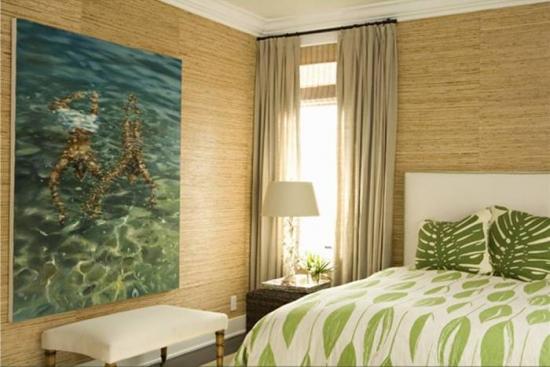 Tapet de bambus pentru dormitor in stil eco