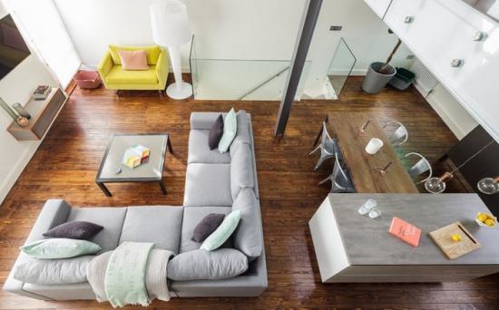 Schema de aranjare a unui living open space cu dining
