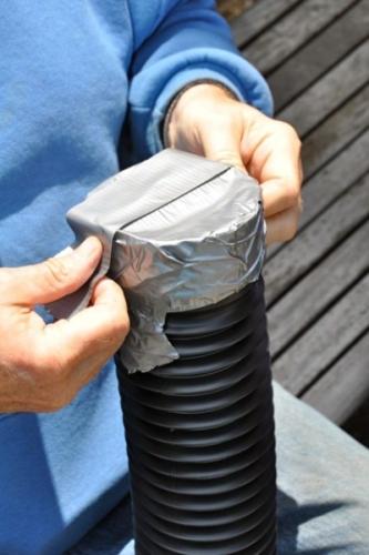 Tub de plastic etansat cu banda adeziva