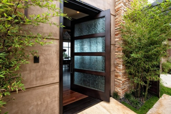Usa intrare din lemn si sticla