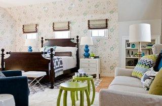Veioze moderne pentru dormitor alb cu turcoaz si lampa de podea cu picior asortata