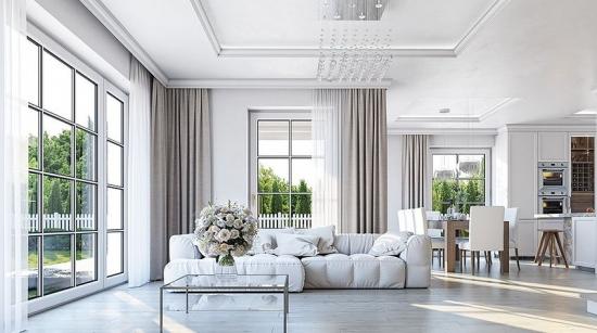 Living amenajat clasic in alb si crem lux