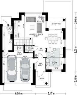 Plan parter vila 104 mp cu garaj dublu