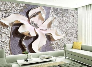Perete living cu floare din gips si zugraveala stucco