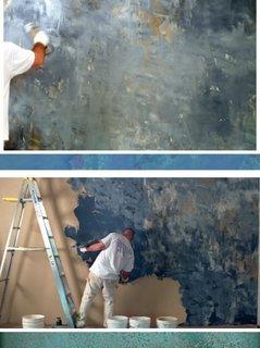 Efect deosebit de stucco in nuante marine