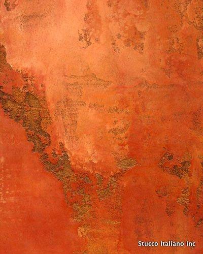 Stucco portocaliu cu efect de perete scorojit