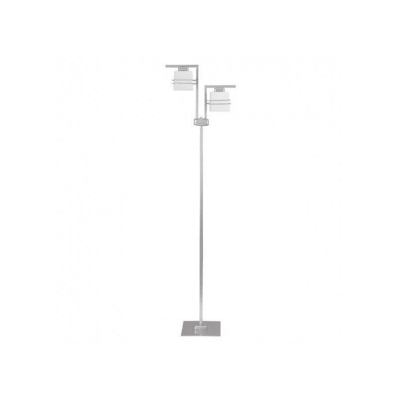 ALDO - Lampadar cu doua becuri, suport metalic argintiu si abajurui albe, din sticla