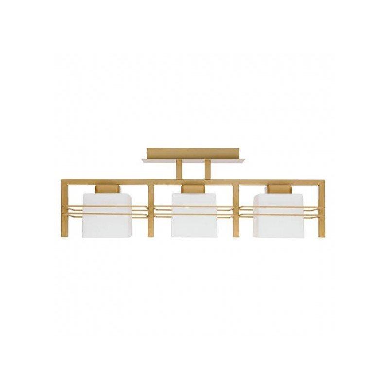ALDO - Plafoniera 3 becuri, metalica,auriu cu abajur alb, design modern
